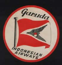 Airline luggage label  Garuda Airline Indonesia  rare #410